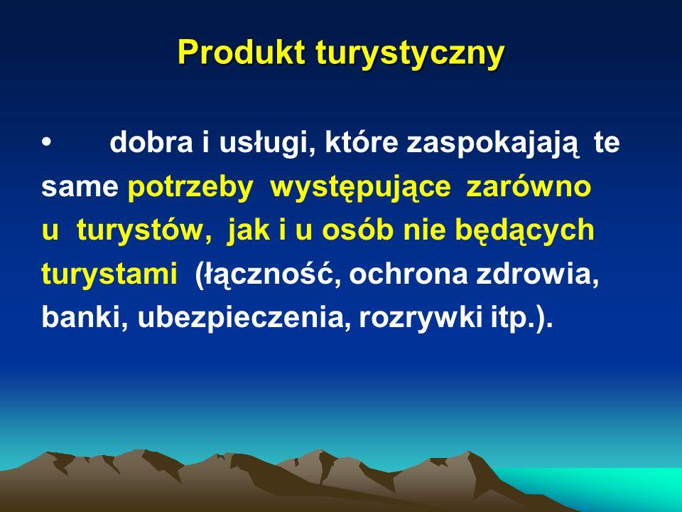 Produkt turystyczny dobra i usługi, które zaspokajają te same potrzeby występujące zarówno u turystów, jak i u osób nie będących turystami (łączność,