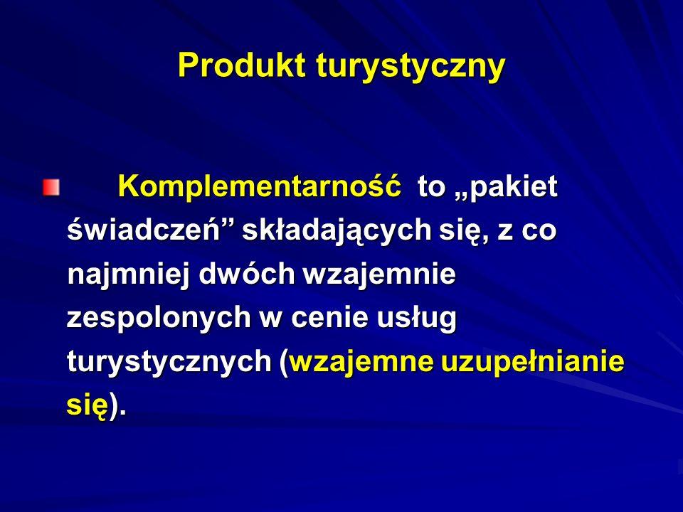 Produkt turystyczny Komplementarność to pakiet Komplementarność to pakiet świadczeń składających się, z co najmniej dwóch wzajemnie zespolonych w ceni