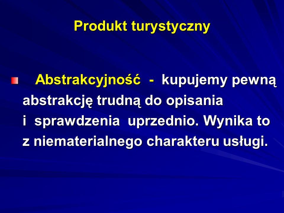 Produkt turystyczny Abstrakcyjność - kupujemy pewną Abstrakcyjność - kupujemy pewną abstrakcję trudną do opisania abstrakcję trudną do opisania i spra