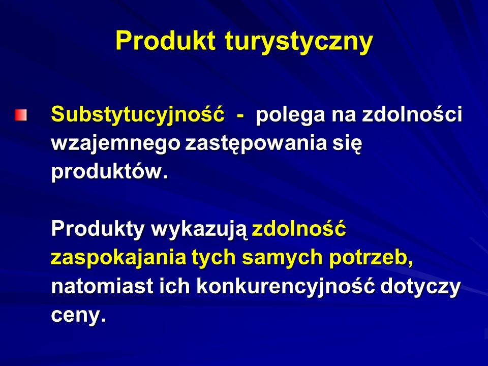 Produkt turystyczny Substytucyjność - polega na zdolności Substytucyjność - polega na zdolności wzajemnego zastępowania się wzajemnego zastępowania si
