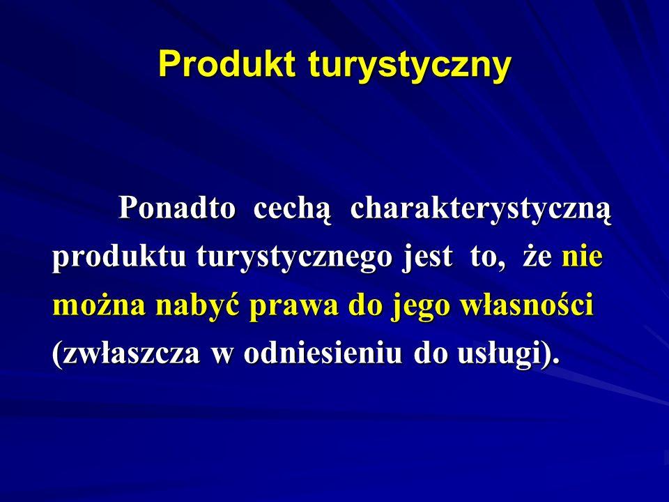 Produkt turystyczny Ponadto cechą charakterystyczną Ponadto cechą charakterystyczną produktu turystycznego jest to, że nie można nabyć prawa do jego w