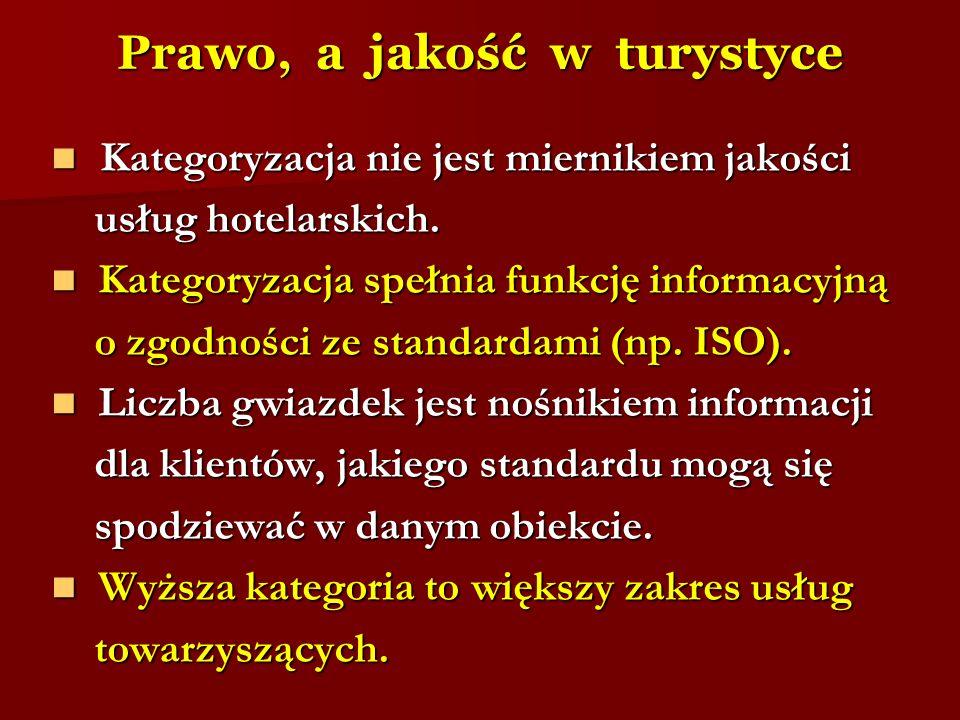 Prawo, a jakość w turystyce Kategoryzacja nie jest miernikiem jakości Kategoryzacja nie jest miernikiem jakości usług hotelarskich. usług hotelarskich