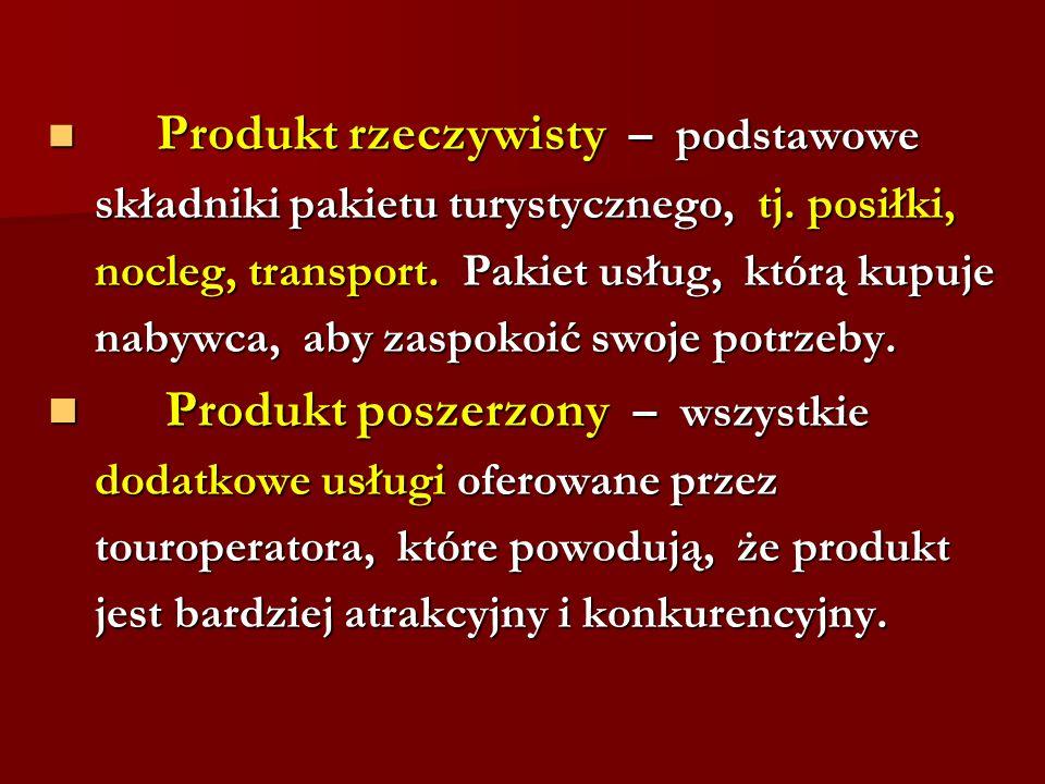 Produkt rzeczywisty – podstawowe Produkt rzeczywisty – podstawowe składniki pakietu turystycznego, tj. posiłki, składniki pakietu turystycznego, tj. p
