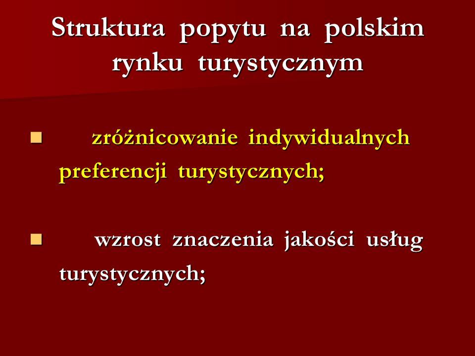 Struktura popytu na polskim rynku turystycznym zróżnicowanie indywidualnych zróżnicowanie indywidualnych preferencji turystycznych; preferencji turyst