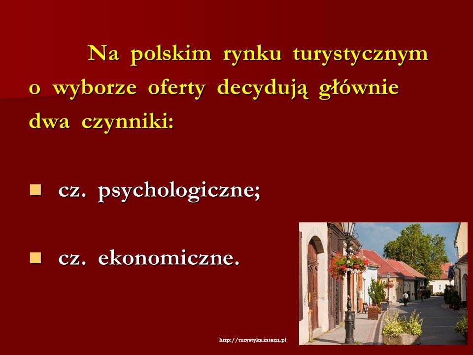 Na polskim rynku turystycznym Na polskim rynku turystycznym o wyborze oferty decydują głównie dwa czynniki: cz. psychologiczne; cz. psychologiczne; cz