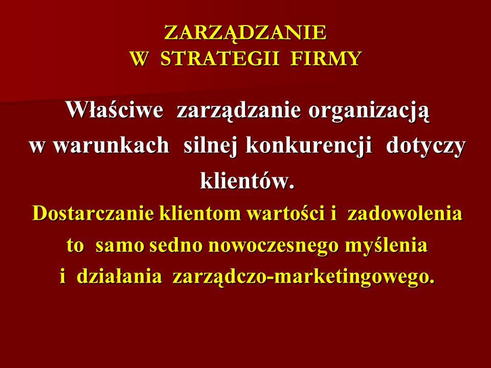 ZARZĄDZANIE W STRATEGII FIRMY Właściwe zarządzanie organizacją w warunkach silnej konkurencji dotyczy klientów. Dostarczanie klientom wartości i zadow