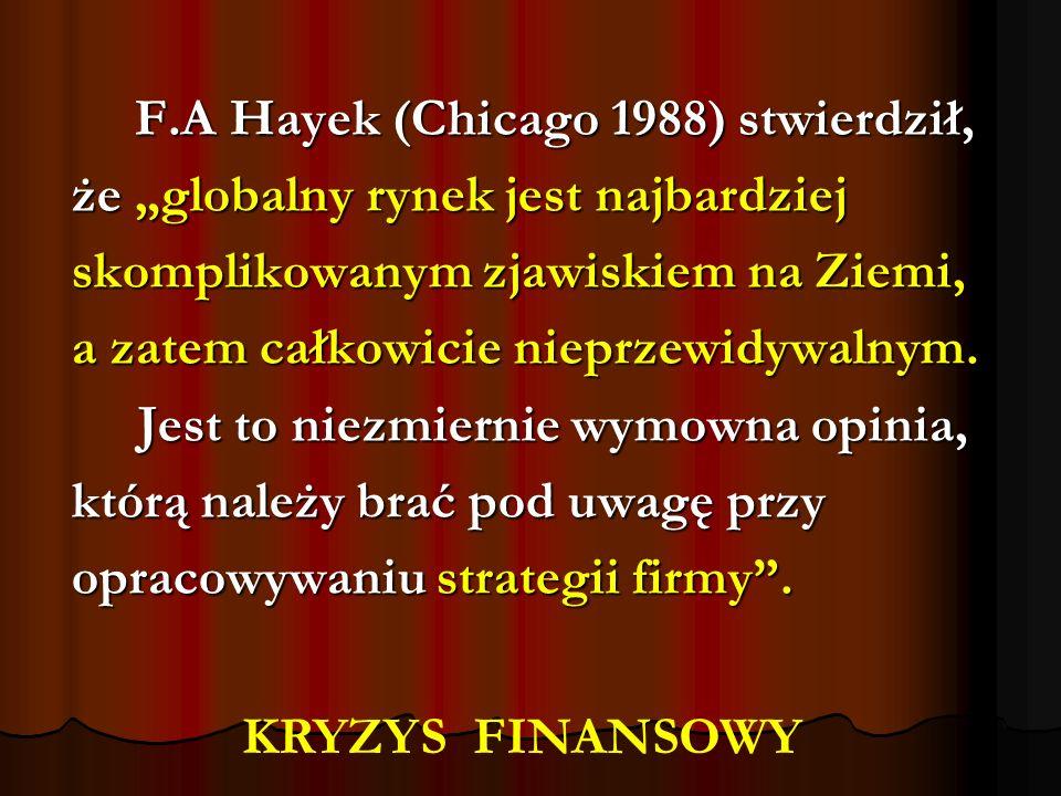 F.A Hayek (Chicago 1988) stwierdził, F.A Hayek (Chicago 1988) stwierdził, że globalny rynek jest najbardziej skomplikowanym zjawiskiem na Ziemi, a zat