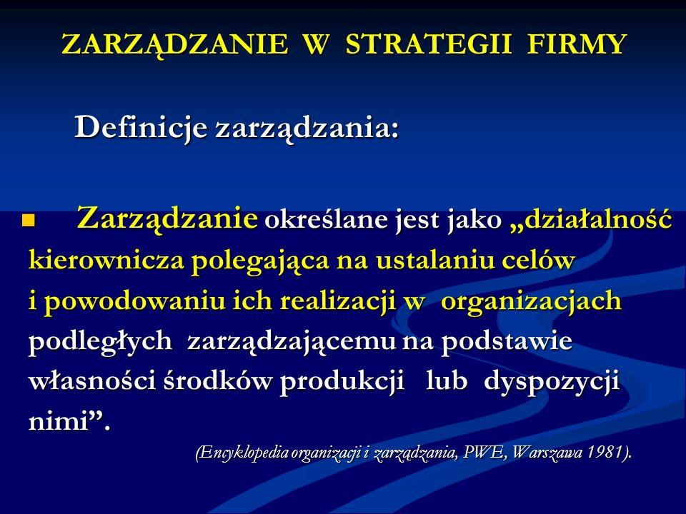 ZARZĄDZANIE W STRATEGII FIRMY Definicje zarządzania: Definicje zarządzania: Zarządzanie określane jest jako działalność Zarządzanie określane jest jak