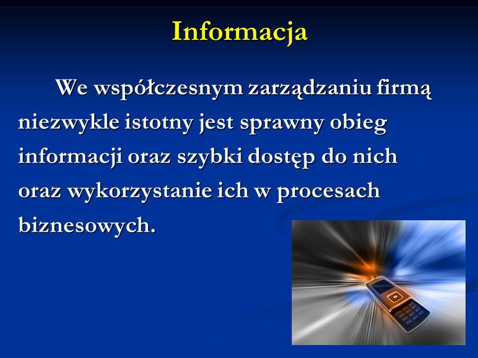We współczesnym zarządzaniu firmą We współczesnym zarządzaniu firmą niezwykle istotny jest sprawny obieg informacji oraz szybki dostęp do nich oraz wy