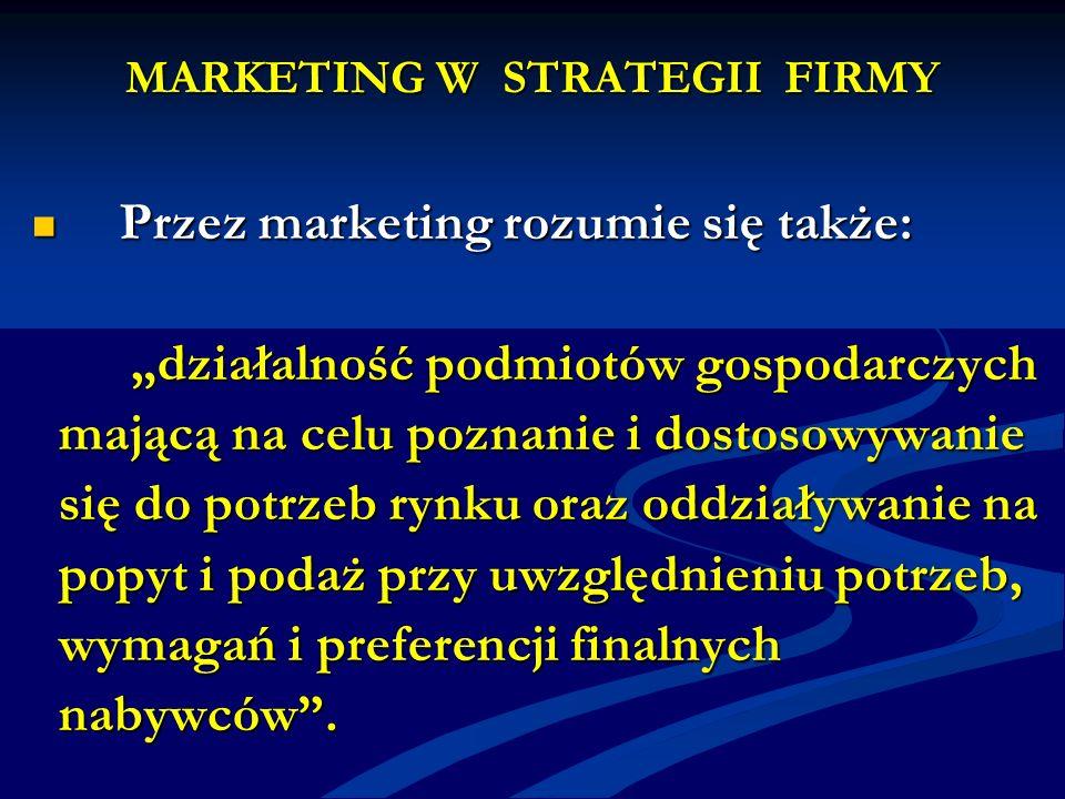 MARKETING W STRATEGII FIRMY Przez marketing rozumie się także: Przez marketing rozumie się także: działalność podmiotów gospodarczych działalność podm