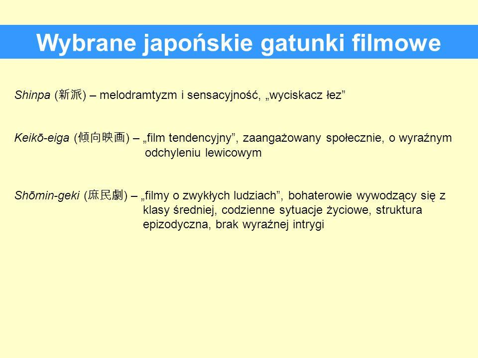 Wybrane japońskie gatunki filmowe Shinpa ( ) – melodramtyzm i sensacyjność, wyciskacz łez Keikō-eiga ( ) – film tendencyjny, zaangażowany społecznie,