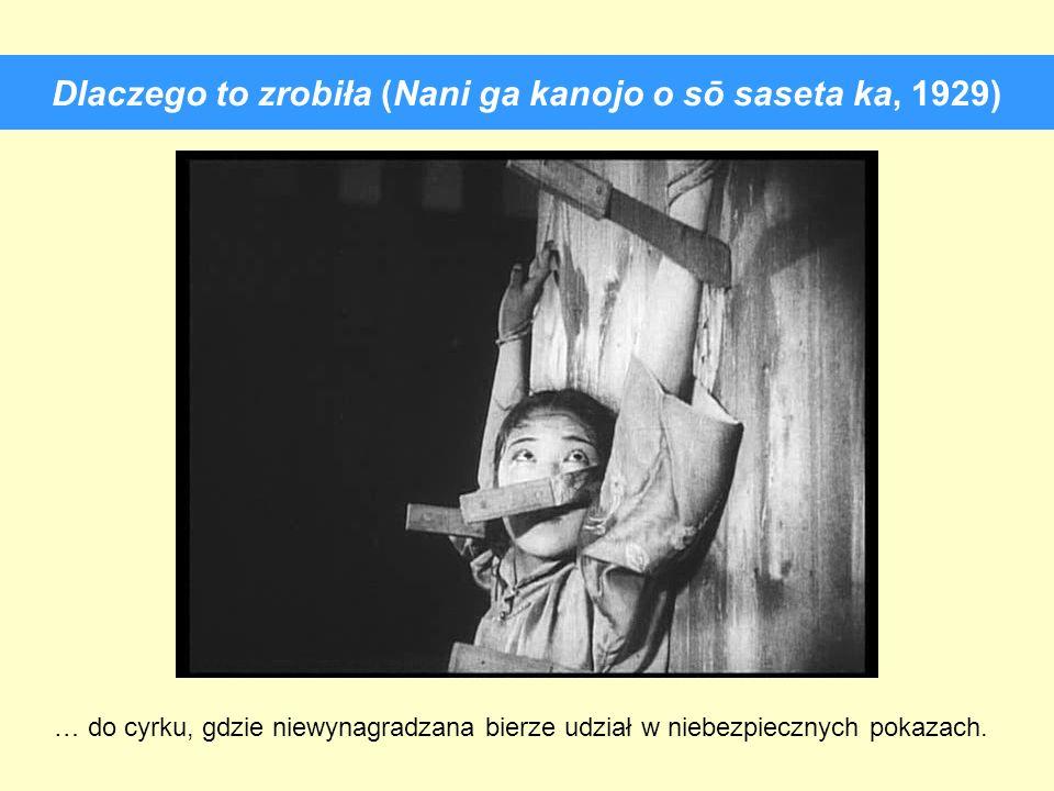 Dlaczego to zrobiła (Nani ga kanojo o sō saseta ka, 1929) … do cyrku, gdzie niewynagradzana bierze udział w niebezpiecznych pokazach.