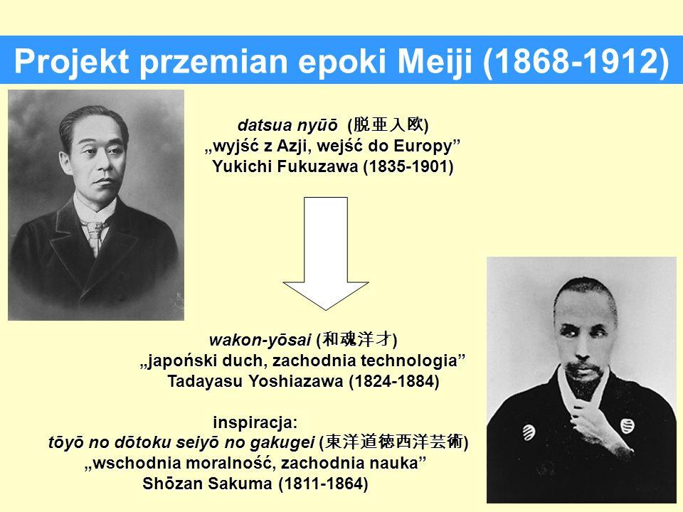 Projekt przemian epoki Meiji (1868-1912) datsua nyūō ( ) wyjść z Azji, wejść do Europy Yukichi Fukuzawa (1835-1901) wakon-yōsai ( ) wakon-yōsai ( ) ja