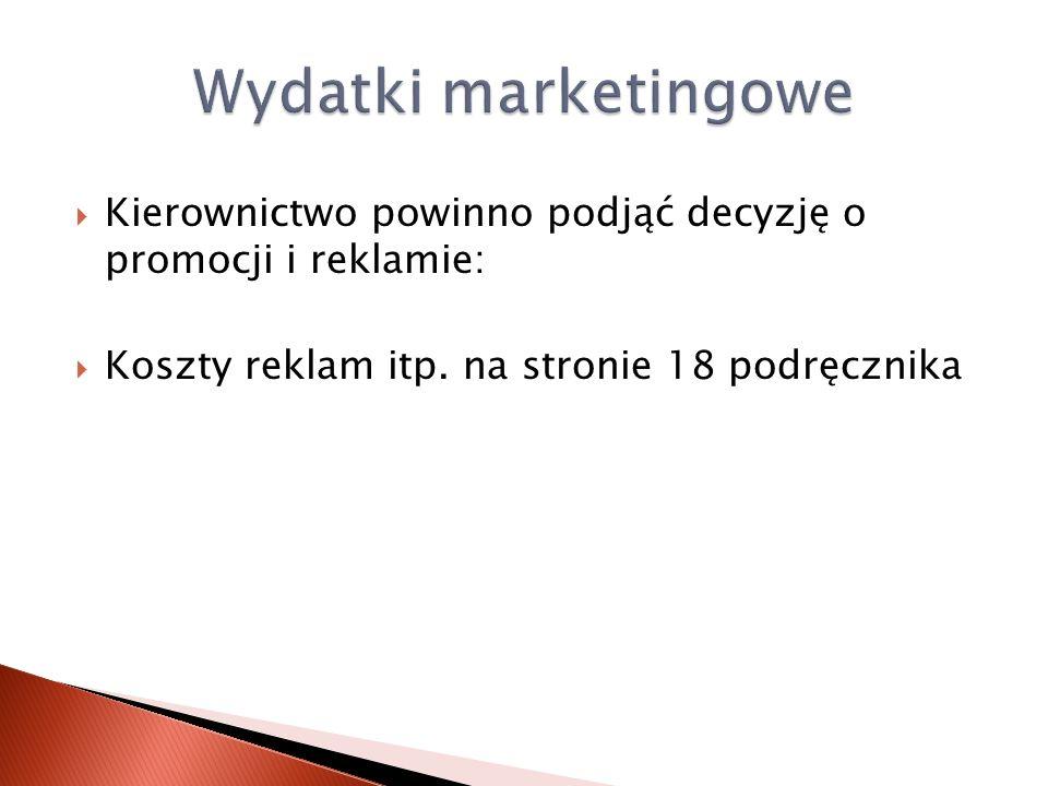 Kierownictwo powinno podjąć decyzję o promocji i reklamie: Koszty reklam itp. na stronie 18 podręcznika