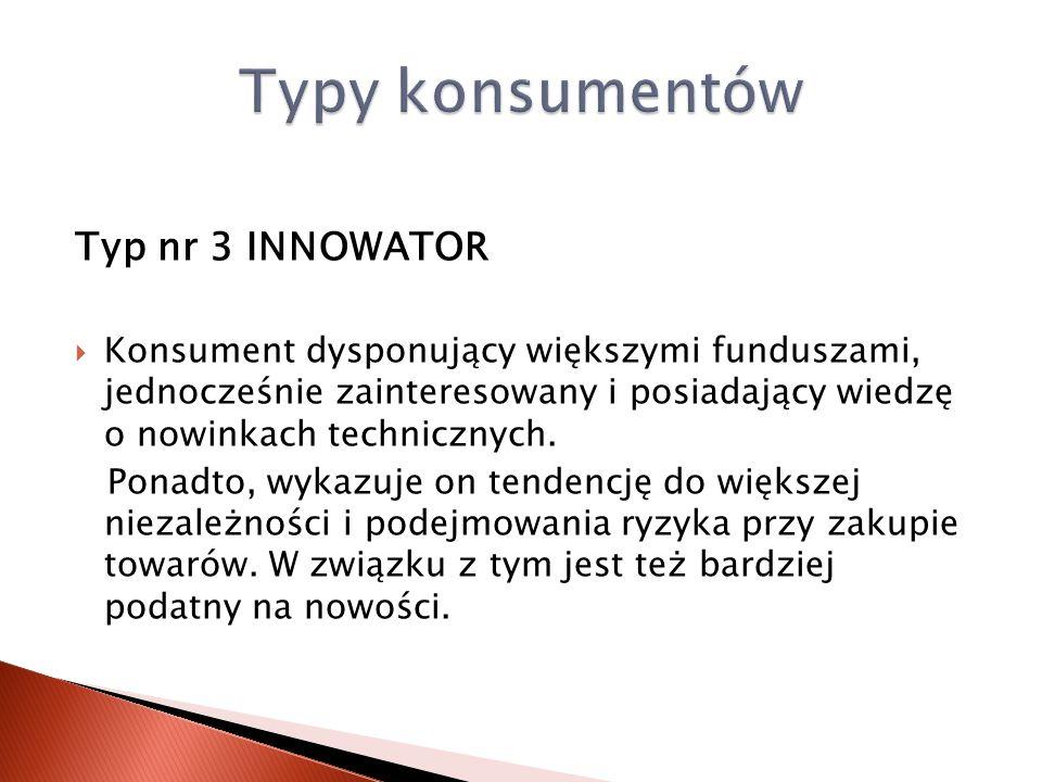 Typ nr 3 INNOWATOR Konsument dysponujący większymi funduszami, jednocześnie zainteresowany i posiadający wiedzę o nowinkach technicznych. Ponadto, wyk