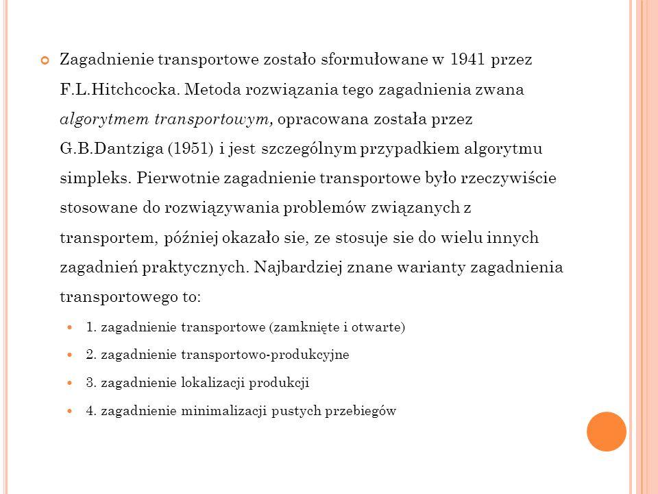 Zagadnienie transportowe zostało sformułowane w 1941 przez F.L.Hitchcocka. Metoda rozwiązania tego zagadnienia zwana algorytmem transportowym, opracow