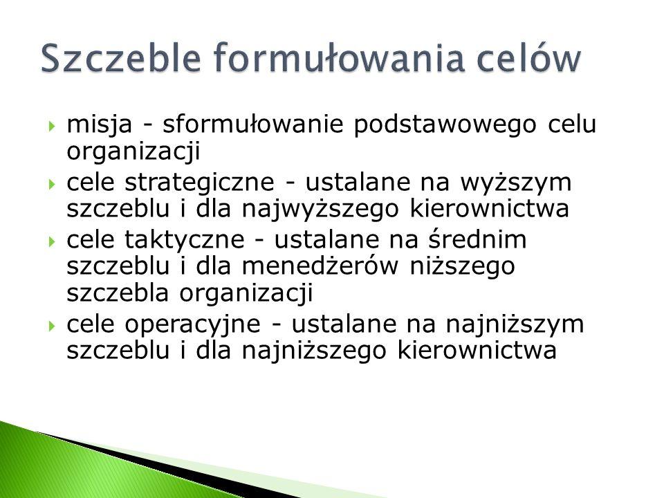 misja - sformułowanie podstawowego celu organizacji cele strategiczne - ustalane na wyższym szczeblu i dla najwyższego kierownictwa cele taktyczne - u