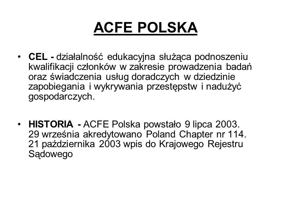 ACFE POLSKA CEL - działalność edukacyjna służąca podnoszeniu kwalifikacji członków w zakresie prowadzenia badań oraz świadczenia usług doradczych w dz