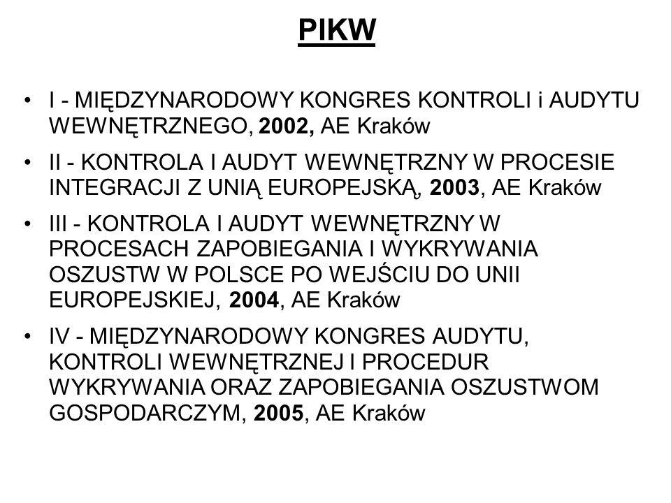 PIKW I - MIĘDZYNARODOWY KONGRES KONTROLI i AUDYTU WEWNĘTRZNEGO, 2002, AE Kraków II - KONTROLA I AUDYT WEWNĘTRZNY W PROCESIE INTEGRACJI Z UNIĄ EUROPEJS