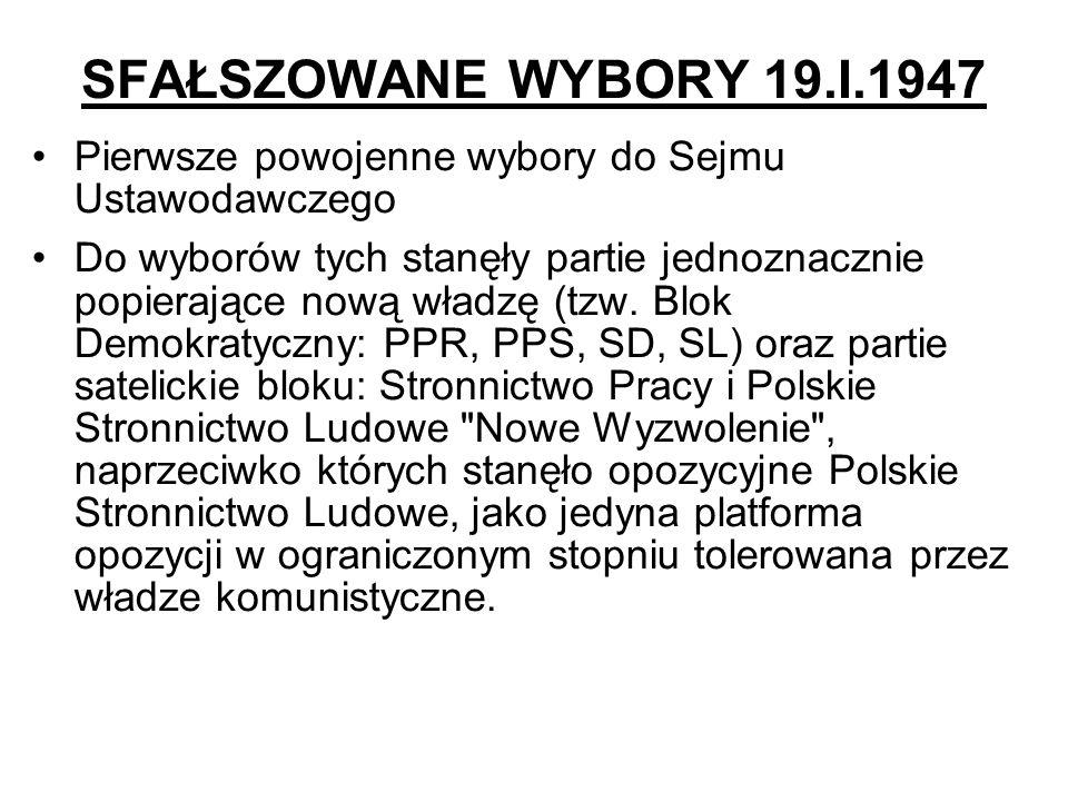SFAŁSZOWANE WYBORY 19.I.1947 Pierwsze powojenne wybory do Sejmu Ustawodawczego Do wyborów tych stanęły partie jednoznacznie popierające nową władzę (t