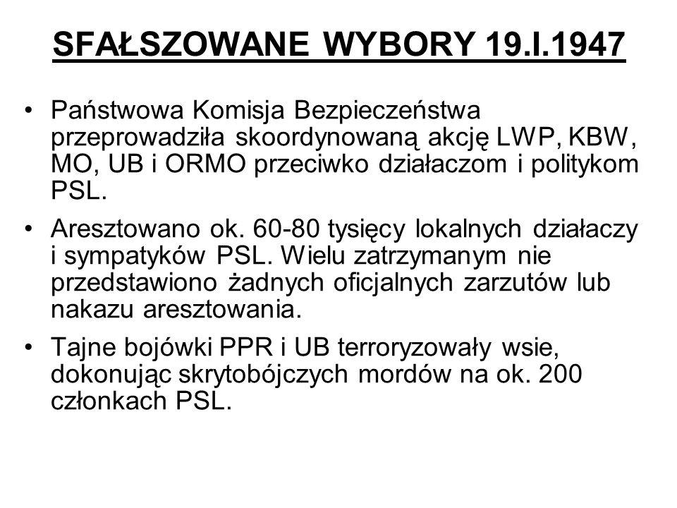 SFAŁSZOWANE WYBORY 19.I.1947 Państwowa Komisja Bezpieczeństwa przeprowadziła skoordynowaną akcję LWP, KBW, MO, UB i ORMO przeciwko działaczom i polity