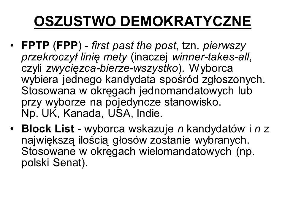 OSZUSTWO DEMOKRATYCZNE FPTP (FPP) - first past the post, tzn. pierwszy przekroczył linię mety (inaczej winner-takes-all, czyli zwycięzca-bierze-wszyst