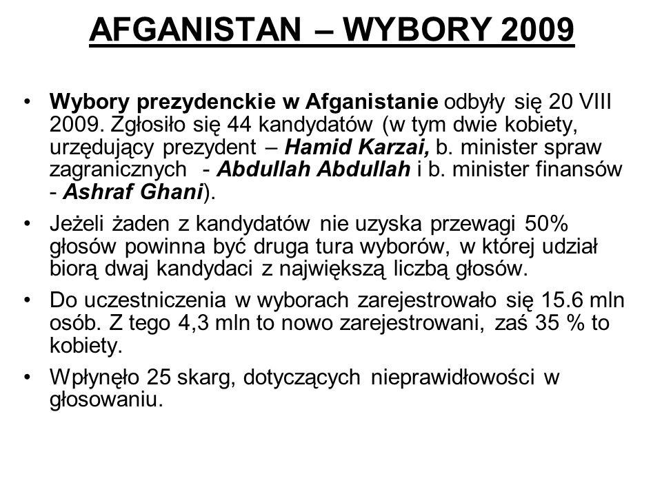AFGANISTAN – WYBORY 2009 Wybory prezydenckie w Afganistanie odbyły się 20 VIII 2009. Zgłosiło się 44 kandydatów (w tym dwie kobiety, urzędujący prezyd