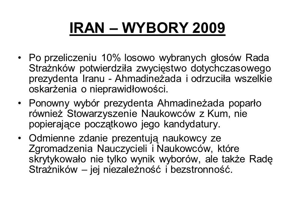 IRAN – WYBORY 2009 Po przeliczeniu 10% losowo wybranych głosów Rada Strażnków potwierdziła zwycięstwo dotychczasowego prezydenta Iranu - Ahmadineżada