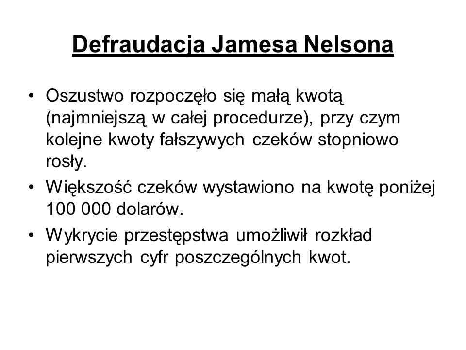 Defraudacja Jamesa Nelsona Oszustwo rozpoczęło się małą kwotą (najmniejszą w całej procedurze), przy czym kolejne kwoty fałszywych czeków stopniowo ro