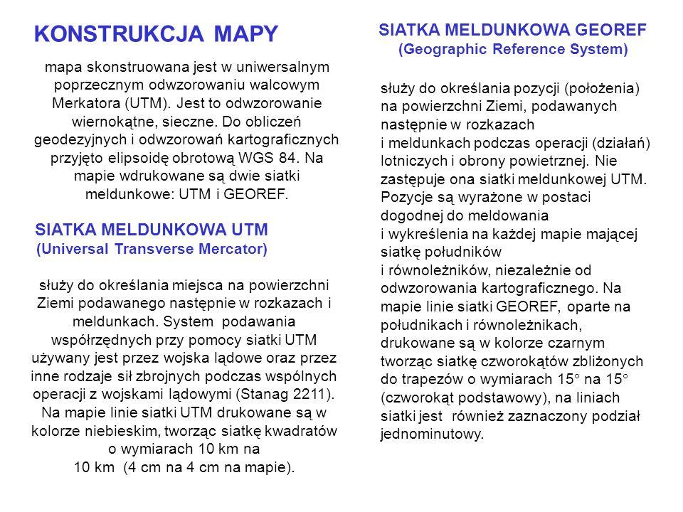 mapa skonstruowana jest w uniwersalnym poprzecznym odwzorowaniu walcowym Merkatora (UTM). Jest to odwzorowanie wiernokątne, sieczne. Do obliczeń geode