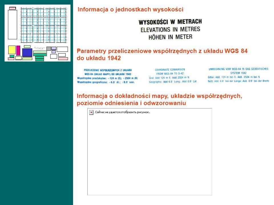 Informacja o jednostkach wysokości Parametry przeliczeniowe współrzędnych z układu WGS 84 do układu 1942 Informacja o dokładności mapy, układzie współ