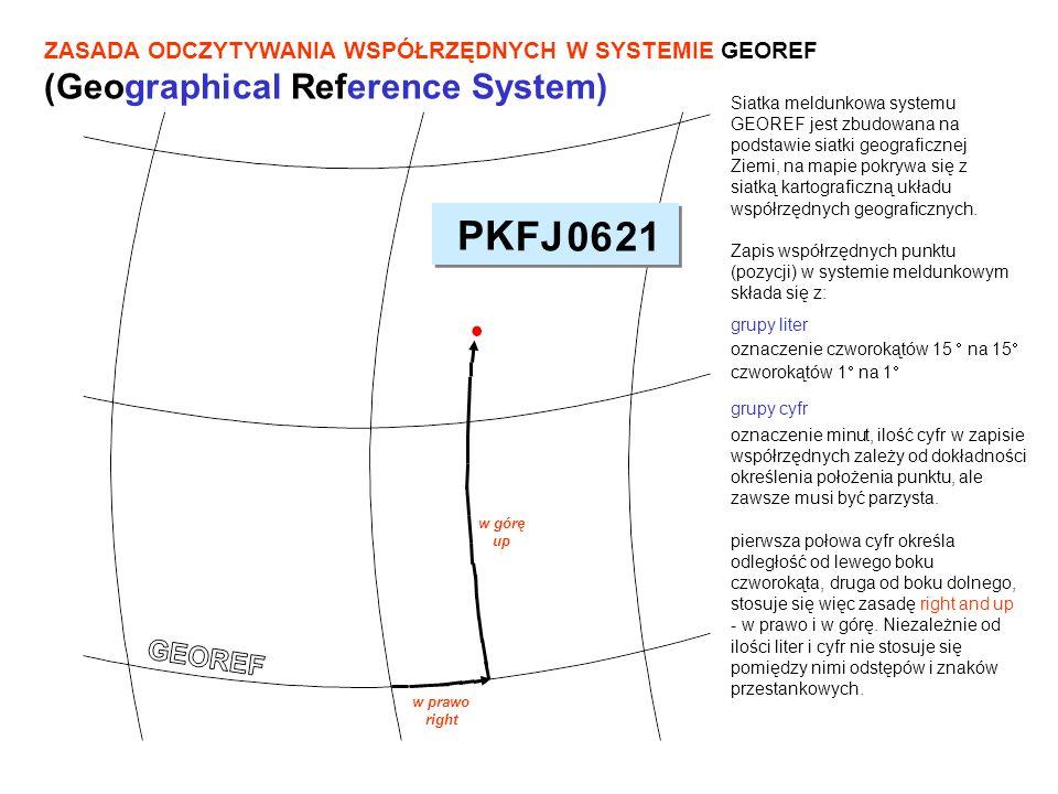 PODZIAŁ NA PIĘTNASTOSTOPNIOWE CZWOROKĄTY (15 - POLA STREFOWE) System dzieli powierzchnię Ziemi na czworokąty sferyczne (pola strefowe) o bokach 15 na 15, wyznaczone południkami i równoleżnikami co 15 długości i szerokości geograficznej.