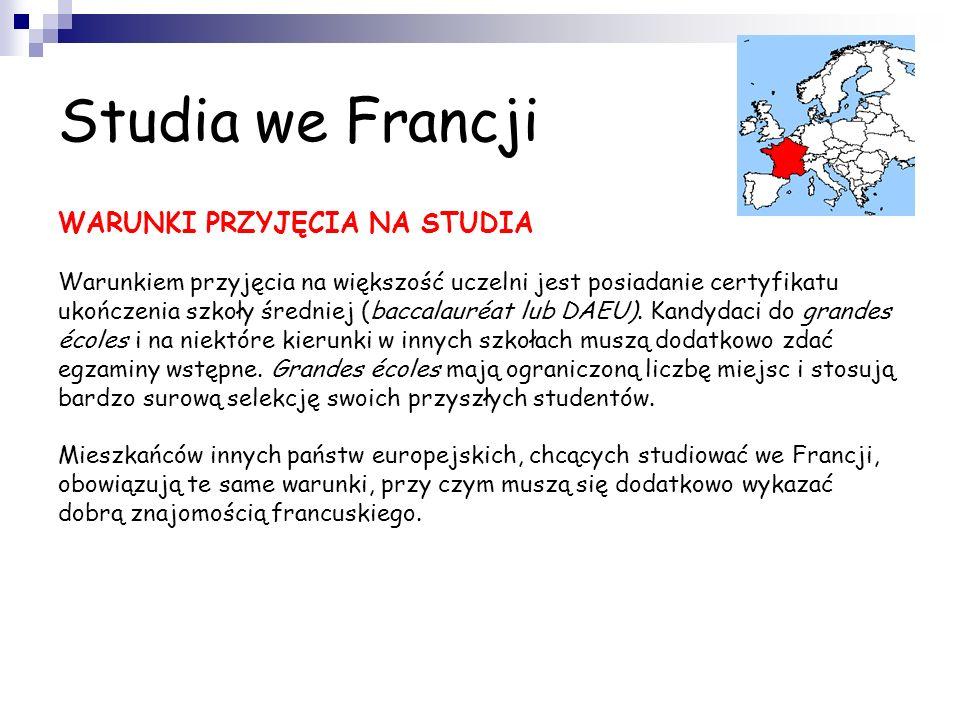Studia we Francji STRUKTURA I ORGANIZACJA STUDIÓW We Francji, podobnie jak w Polsce, istnieje podział na szkolnictwo państwowe i prywatne. Przyszli st