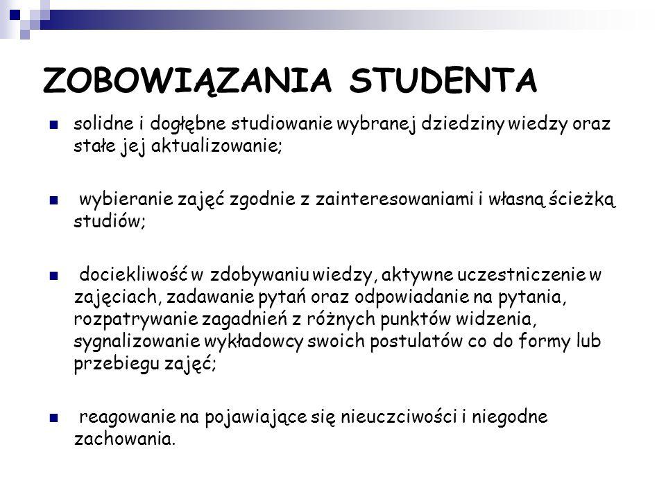 Zobowiązania społeczności studenckiej w stosunku do instytucji akademickiej dbanie o dobre imię uczelni, kształtowanie swoją postawą dobrego jej wizer