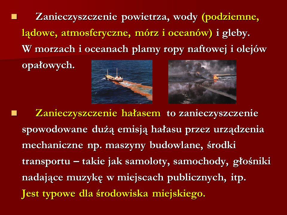 Zanieczyszczenie powietrza, wody (podziemne, Zanieczyszczenie powietrza, wody (podziemne, lądowe, atmosferyczne, mórz i oceanów) i gleby. lądowe, atmo