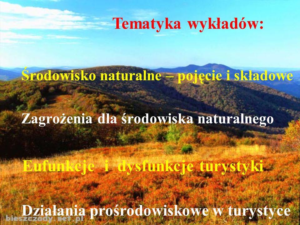 Środowisko naturalne – pojęcie i składowe Zagrożenia dla środowiska naturalnego Eufunkcje i dysfunkcje turystyki Działania prośrodowiskowe w turystyce