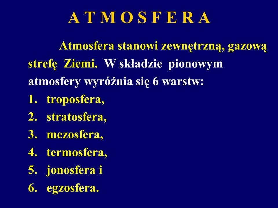 A T M O S F E R A Atmosfera stanowi zewnętrzną, gazową strefę Ziemi. W składzie pionowym atmosfery wyróżnia się 6 warstw: 1.troposfera, 2.stratosfera,