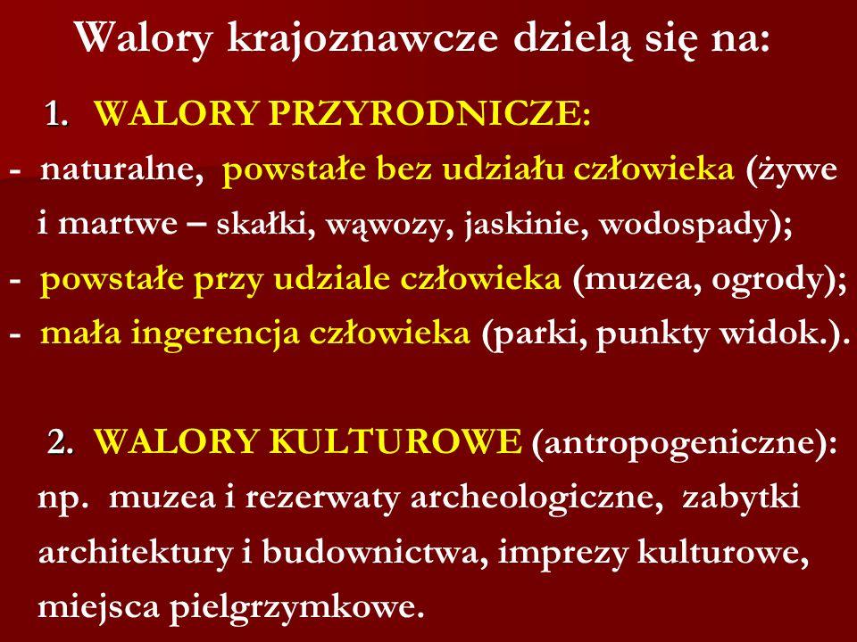 Walory krajoznawcze dzielą się na: 1. 1. WALORY PRZYRODNICZE: - naturalne, powstałe bez udziału człowieka (żywe i martwe – skałki, wąwozy, jaskinie, w