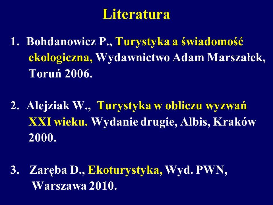 Literatura 1.Bohdanowicz P., Turystyka a świadomość ekologiczna, Wydawnictwo Adam Marszałek, Toruń 2006. 2.Alejziak W., Turystyka w obliczu wyzwań XXI