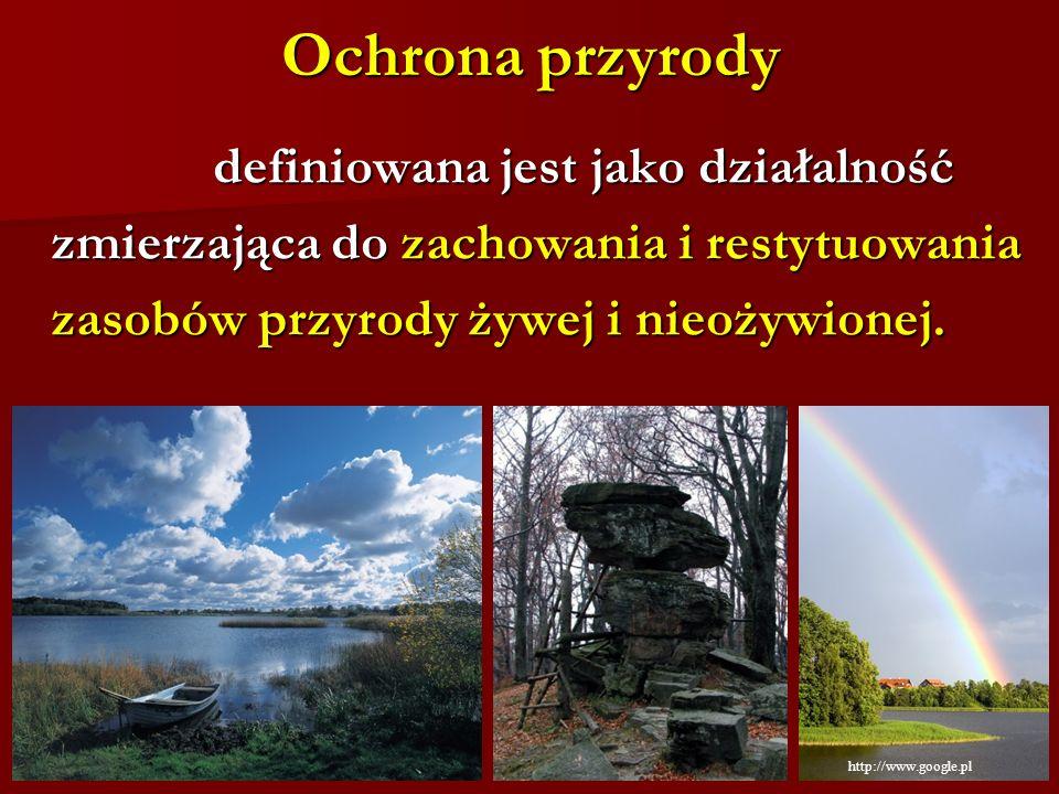Ochrona przyrody definiowana jest jako działalność definiowana jest jako działalność zmierzająca do zachowania i restytuowania zasobów przyrody żywej