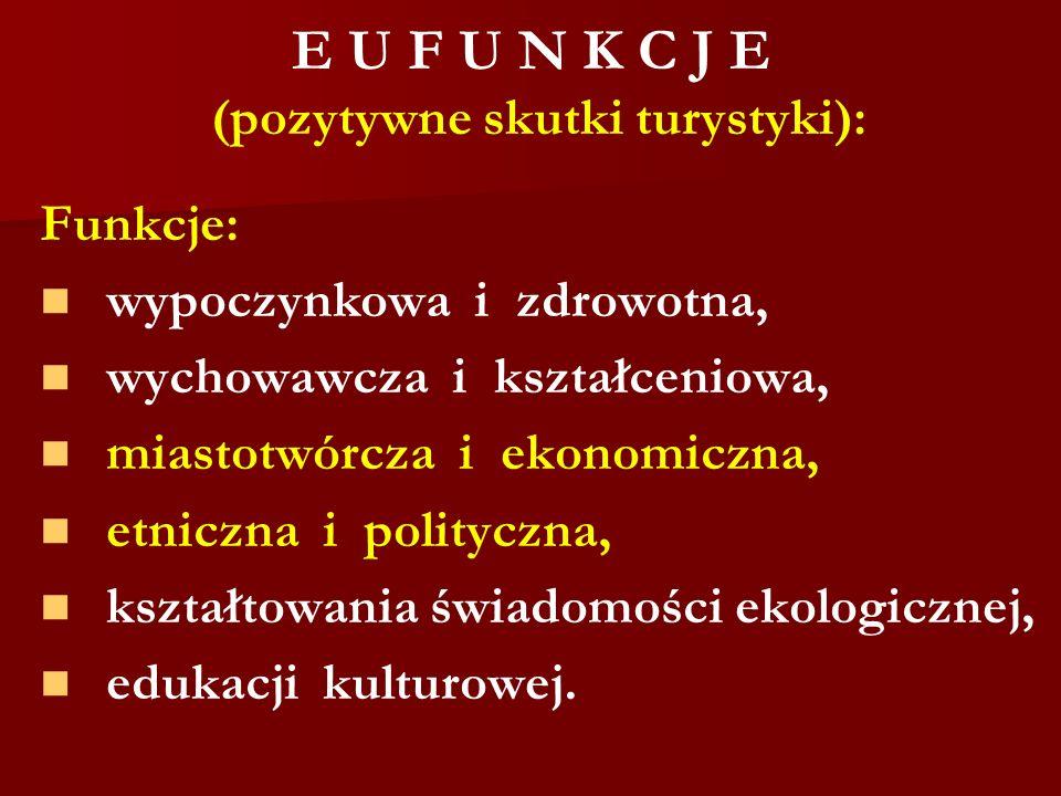 E U F U N K C J E (pozytywne skutki turystyki): Funkcje: wypoczynkowa i zdrowotna, wychowawcza i kształceniowa, miastotwórcza i ekonomiczna, etniczna