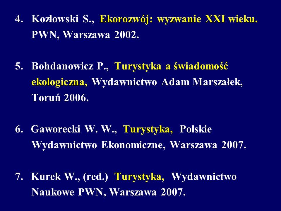4. Kozłowski S., Ekorozwój: wyzwanie XXI wieku. PWN, Warszawa 2002. 5. Bohdanowicz P., Turystyka a świadomość ekologiczna, Wydawnictwo Adam Marszałek,