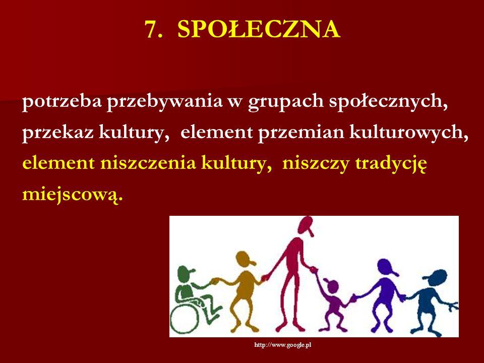 7. SPOŁECZNA potrzeba przebywania w grupach społecznych, przekaz kultury, element przemian kulturowych, element niszczenia kultury, niszczy tradycję m