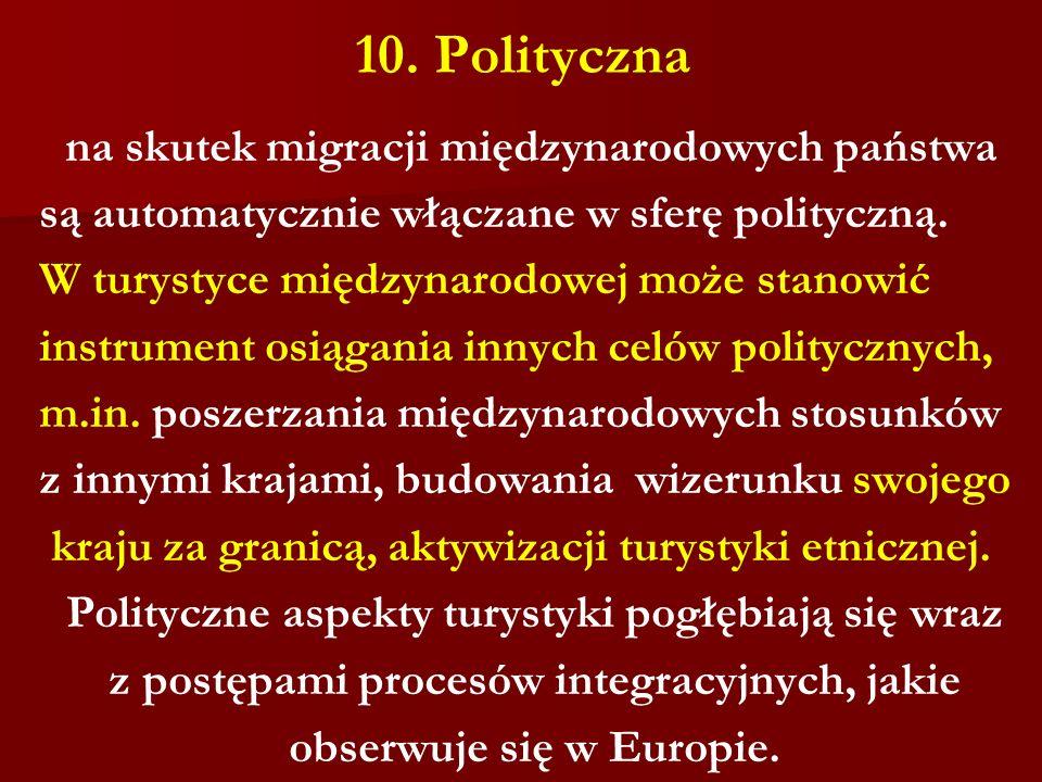 10. Polityczna na skutek migracji międzynarodowych państwa są automatycznie włączane w sferę polityczną. W turystyce międzynarodowej może stanowić ins