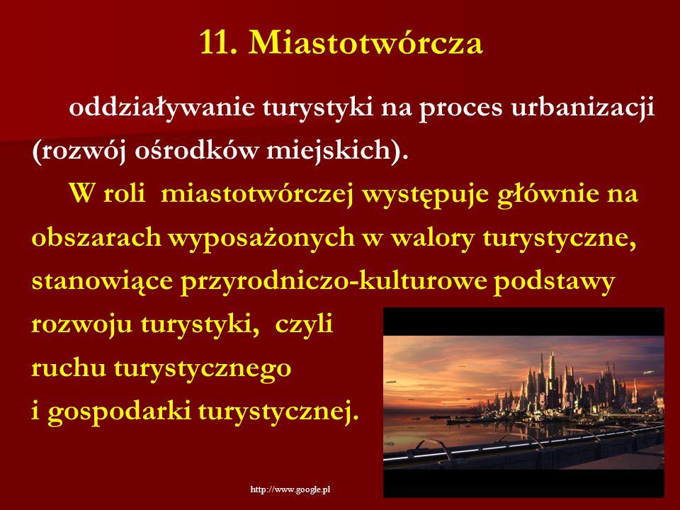 11. Miastotwórcza oddziaływanie turystyki na proces urbanizacji (rozwój ośrodków miejskich). W roli miastotwórczej występuje głównie na obszarach wypo
