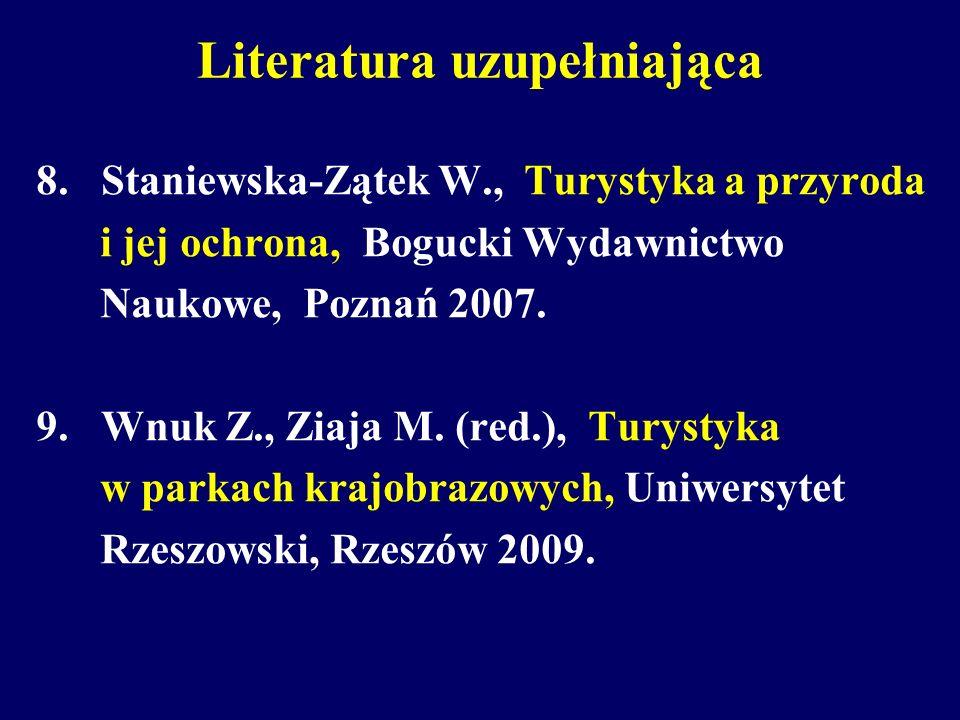 Literatura uzupełniająca 8. Staniewska-Zątek W., Turystyka a przyroda i jej ochrona, Bogucki Wydawnictwo Naukowe, Poznań 2007. 9. Wnuk Z., Ziaja M. (r