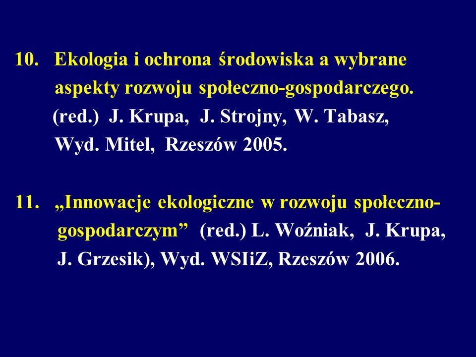 10. Ekologia i ochrona środowiska a wybrane aspekty rozwoju społeczno-gospodarczego. (red.) J. Krupa, J. Strojny, W. Tabasz, Wyd. Mitel, Rzeszów 2005.