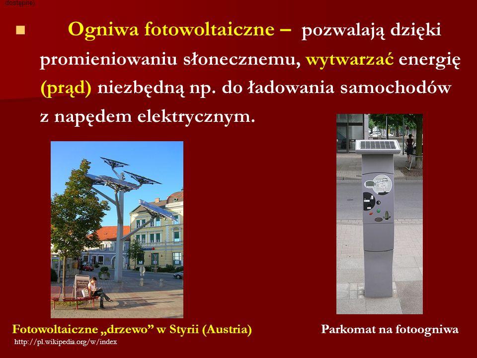 Ogniwa fotowoltaiczne – pozwalają dzięki promieniowaniu słonecznemu, wytwarzać energię (prąd) niezbędną np. do ładowania samochodów z napędem elektryc
