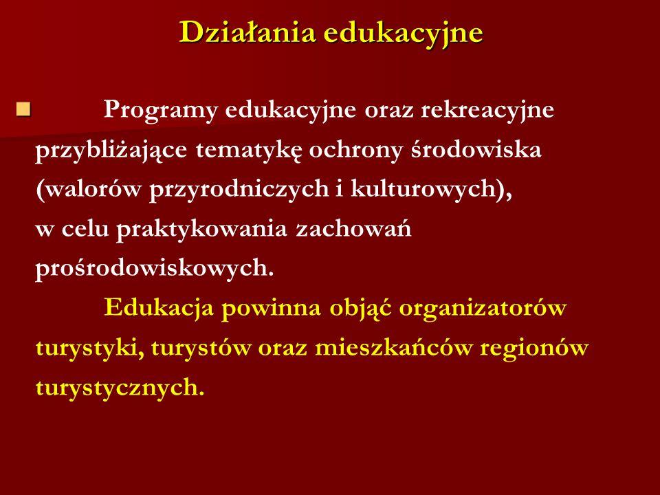 Działania edukacyjne Programy edukacyjne oraz rekreacyjne przybliżające tematykę ochrony środowiska (walorów przyrodniczych i kulturowych), w celu pra