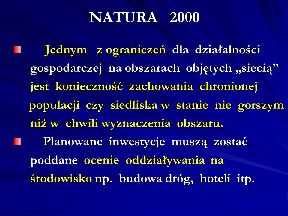 NATURA 2000 Jednym z ograniczeń dla działalności Jednym z ograniczeń dla działalności gospodarczej na obszarach objętych siecią gospodarczej na obszar